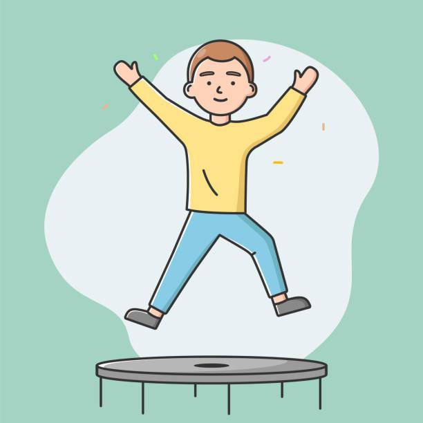 bildbanksillustrationer, clip art samt tecknat material och ikoner med begreppet nöjen, fritid. happy boy hoppar på studsmatta. människan har bra tid i trampolin park eller gym, få positiv erfarenhet. cartoon linjär kontur platt vektor illustration - gym skratt