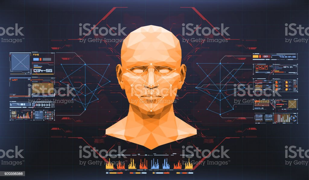 Concept of face scanning. Accurate facial recognition biometric technology and artificial intelligence concept. Face detection HUD interface vector art illustration