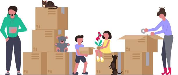 ilustrações, clipart, desenhos animados e ícones de conceito de família com filhos, mudar para uma casa nova - casa nova