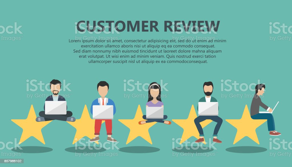 Concept of feedback, testimonials messages and notifications. Rating on customer service illustration. Five big stars with people sitting on them and giving reviews on their lap tops. Flat vector vector art illustration