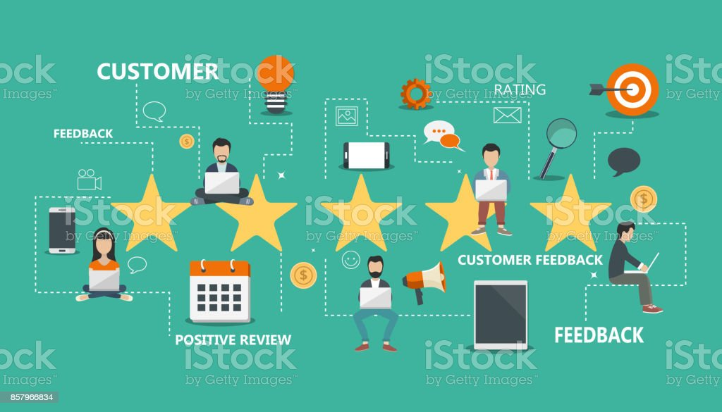 Concept of feedback, testimonials messages and notifications. Rating on customer service. Flat vector illustration vector art illustration
