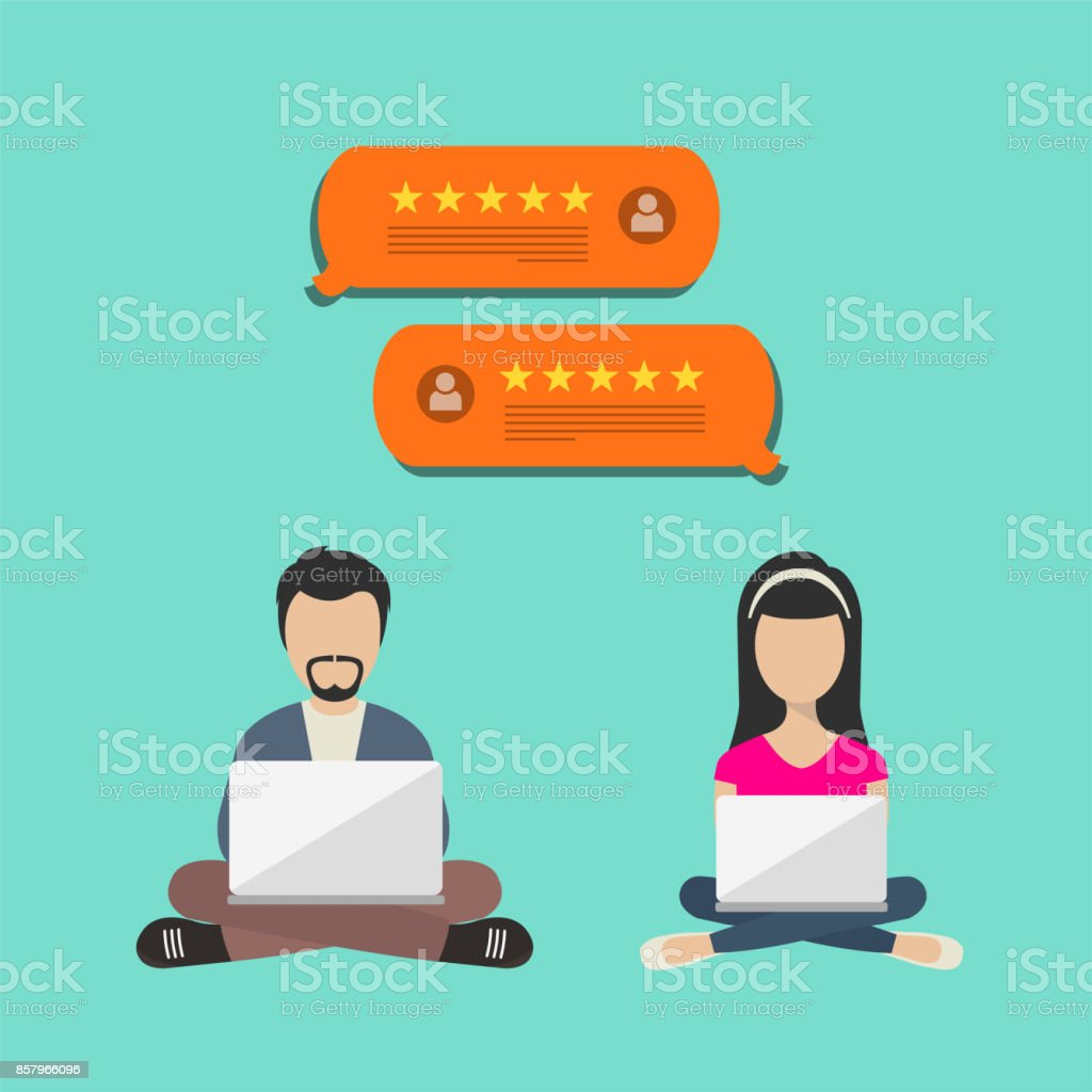 Concept of feedback, testimonials messages and notifications. Speech bubbles with review rating, flat style review stars with good rate and text. People sitting with lap tops and giving reviews. vector art illustration