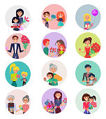 Concept of female getting gifts and bouquet of flowers from male in color circles on white background vector illustration.