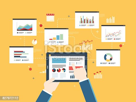 Flat design vector illustration concept of finance investment planning, analytics Information in the form of a graph or diagram with growth report on mobile device.  Successful business.