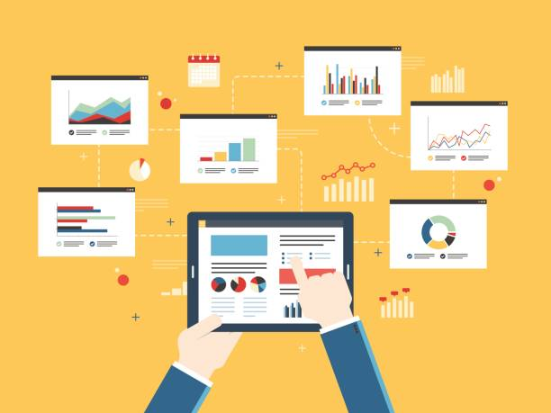 Concept of finance investment planning, analytics chart on mobile device. Flat design vector illustration concept of finance investment planning, analytics Information in the form of a graph or diagram with growth report on mobile device.  Successful business. financial report stock illustrations