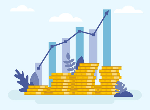 Concept Of Financial Business Plan, Revenue Growth Infographic. Increasing Stacks Of Money With Arrow, Growing Graph Icon, Chart Increase Profit, Growth Success Arrow Icon. Flat Vector Illustration.