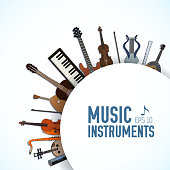 concept of flat music instruments background