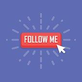 Concept of Follow Me button. Vector illustration.