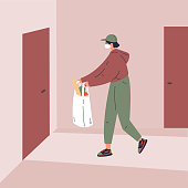 Coronavirus.Novel virus 2019-nCoV.Delivery of food.A young courier delivers the food ordered online to the door.Online shopping.Concept of coronavirus quarantine vector illustration.Flat character