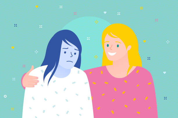 Concept of friendship and support. Two women are together. Cheerful woman supports sad woman Concept of friendship and support.Two women are together. Cheerful woman supports sad woman. Flat design, vector illustration. girlfriend stock illustrations