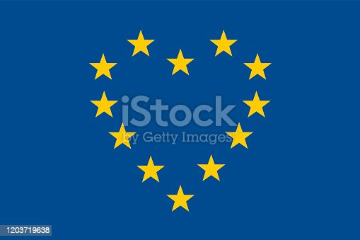 istock Concept of friendship between the countries of the European Union with the stars of its flag that form a heart. 1203719638