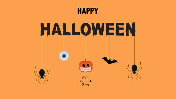 Concept of happy halloween and new normal in coronavirus pandemic. Concept of happy halloween and new normal in coronavirus pandemic. Vector illustration of pumpkin wearing face masks, spider, bat, eyeball and social distancing. halloween covid stock illustrations