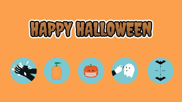Concept of happy halloween and new normal Concept of happy halloween and new normal in coronavirus pandemic. Hand wash, alcohol gel, face mask, social distancing, and temperature check halloween covid stock illustrations
