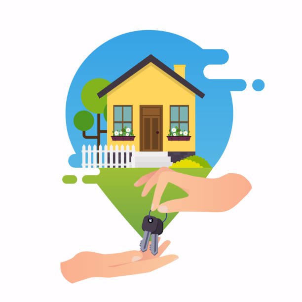 Concept of home rent. Concept for web banners, websites, infographics. Concept of home rent. Concept for web banners, websites, infographics. home ownership stock illustrations