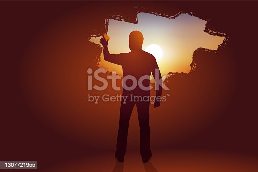istock Concept of hope for an exit from the crisis. 1307721955