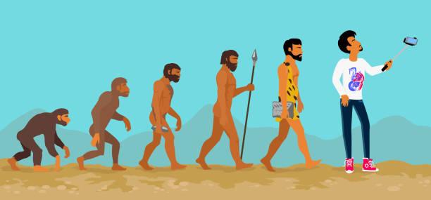 illustrazioni stock, clip art, cartoni animati e icone di tendenza di concetto di evoluzione umana da ape per uomo - man evolution