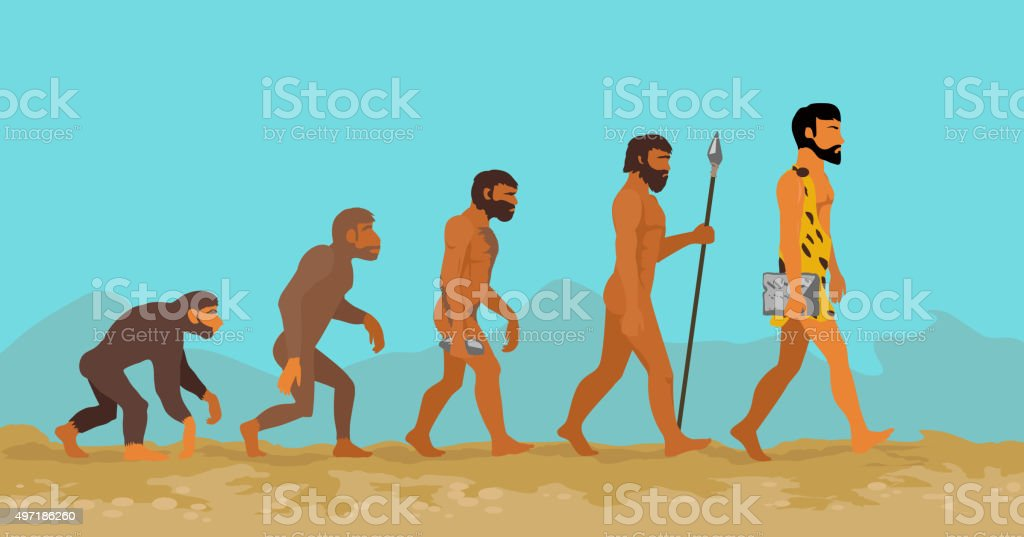 Concept of Human Evolution from Ape to Man vector art illustration