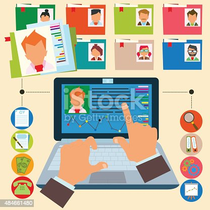 vector illustration concept of human resources management, finding professional staff, head hunter job, employment issue and analyzing personnel resume.infographics.