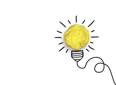 Concept of idea and innovation with paper ball vector clipart
