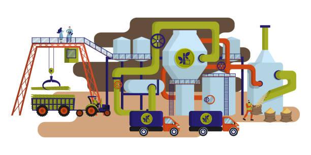illustrazioni stock, clip art, cartoni animati e icone di tendenza di concept of industrial plant for sugar cane processing and sugar production. - illustrazioni di canna da zucchero