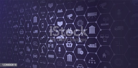 istock Concept of Industry 4.0. Automation, the flow of the icons, data exchange technology in production. Internet of things (IoT) networking concept for connected devices. Spider web of network connections 1226930515