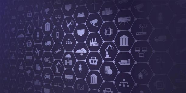 koncepcja przemysłu 4.0. automatyzacja, przepływ ikon, technologia wymiany danych w produkcji. koncepcja sieci internetu rzeczy (iot) dla podłączonych urządzeń. pajęczyna połączeń sieciowych - produkować stock illustrations