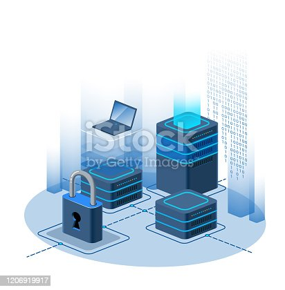 Protection of information. Big data processing center, cloud database, data mining, energy server. Digital information technologies, machine programming. Vector illustration.