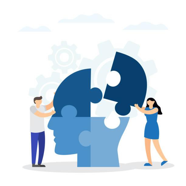 stockillustraties, clipart, cartoons en iconen met concept van het intellect. mensen het aansluiten van puzzelstukjes van een hoofd samen - geestelijk welzijn