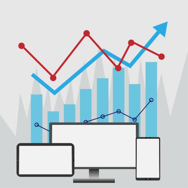 Konzept des Internetcomputer Monitor Bericht Statistik und Analyse für Handel Grafik – Vektorgrafik