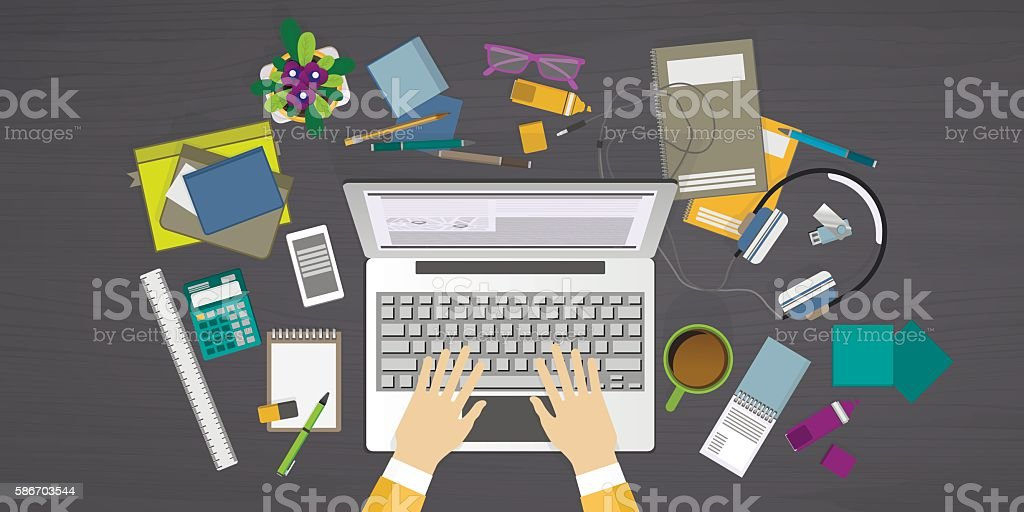Concept of internet learning on workplace royalty-free concept of internet learning on workplace stock vector art & more images of abstract