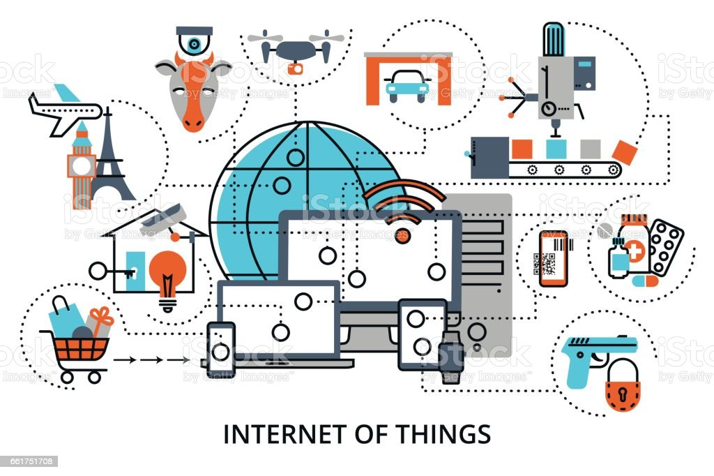 Concept of internet of things vector art illustration
