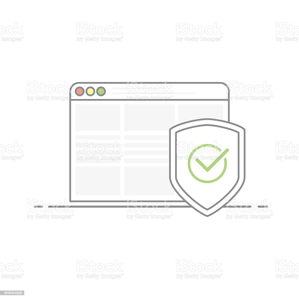 Concept of Internet security. Shield image with a green check vector art illustration