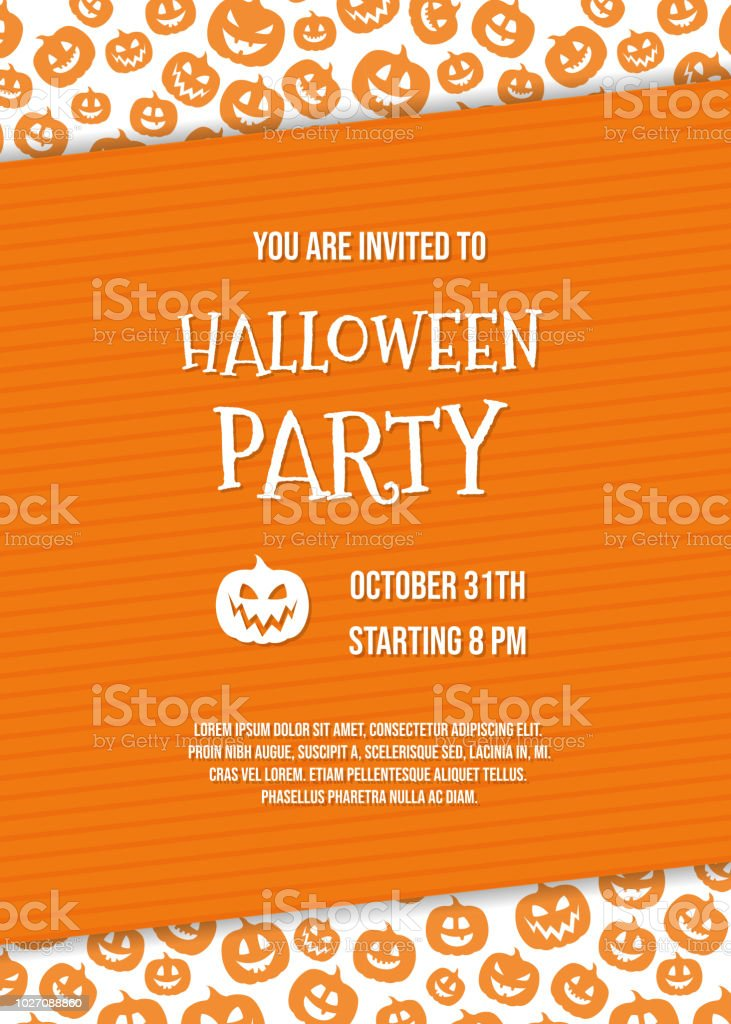 concept of invitation for halloween party with pumpkins and sample