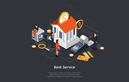 Concept Of Isometric Bank Service, Savings And Investment. Business People And Employees Near Bank Building. Characters Wait For Bank Consultation. Bank Customer VIP Service. Vector Illustration