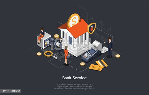 istock Concept Of Isometric Bank Service, Savings And Investment. Business People And Employees Near Bank Building. Characters Wait For Bank Consultation. Bank Customer VIP Service. Vector Illustration 1211618685