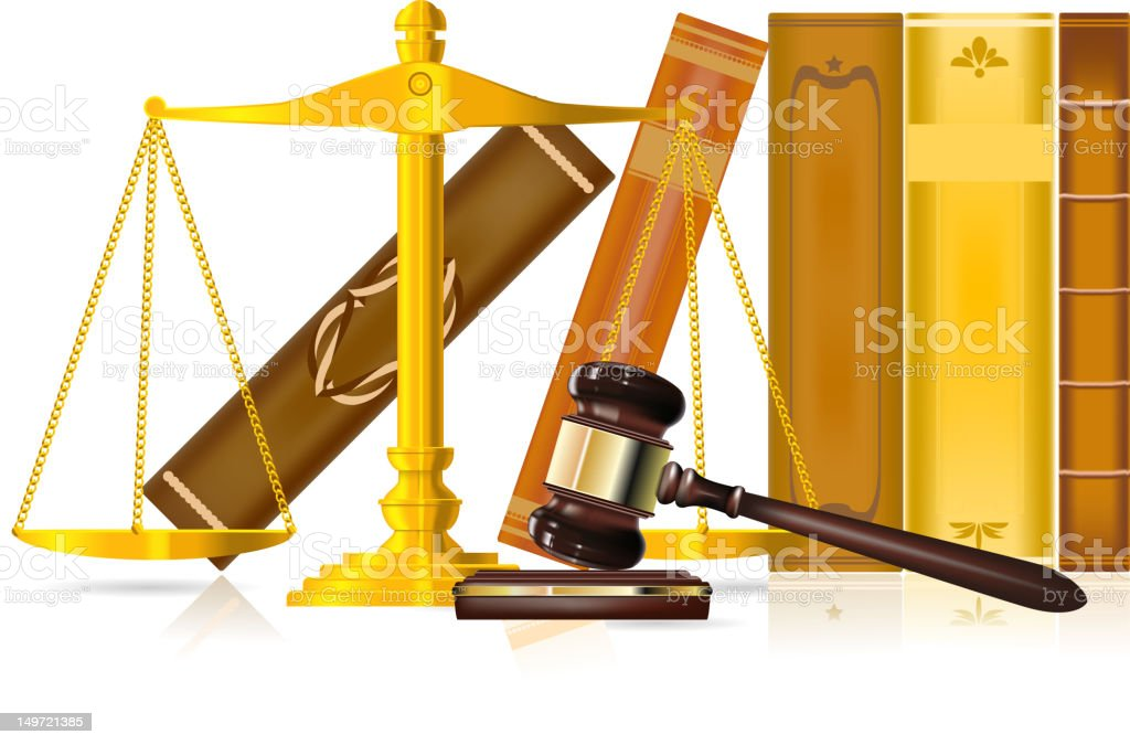 Concept of justice with books in background royalty-free stock vector art