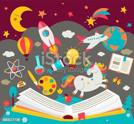 Concept of kids dreams while reading the book. hildrens imagination makes fairy tales real. Open book with many fabulous elements. Vector illustration in flat style.
