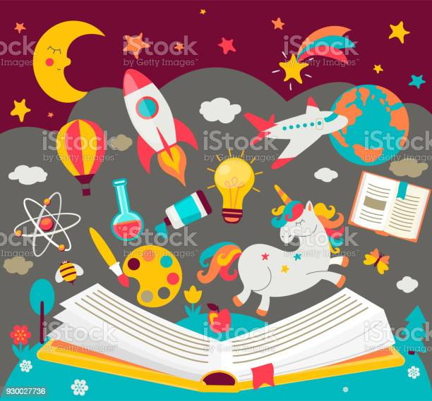 Concept of kids dreams while reading the book vector id930027736?b=1&k=6&m=930027736&s=612x612&h=df46vkxyxdup9uzhfnbwzv8xvsvecnseiyemhjsuedq=