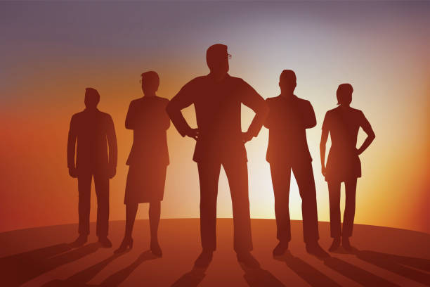 Concept of leadership and corporate strategy with a team of executives. vector art illustration