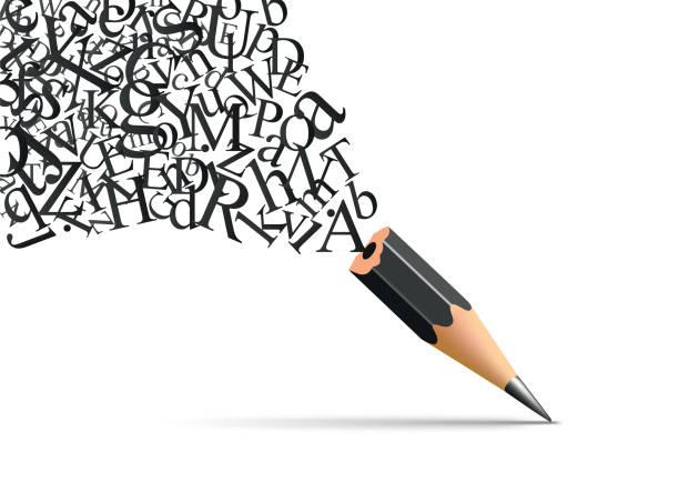 Concept of literary art with letters coming out of a pencil. Concept de l'écriture et de la littérature avec un crayon duquel s'échappe les lettres de l'alphabet symbole de l'inspiration. creative occupation stock illustrations