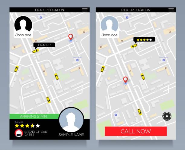 konzept der ortungsdienst. taxi-service-app auf dem handy holen. rufen sie taxi mit smartphone. vektor eps10 - karte navigationsinstrument stock-grafiken, -clipart, -cartoons und -symbole