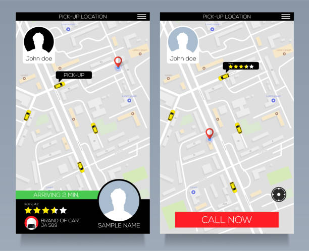 Concept of location service. pick up taxi service app on mobile phone. Call cab with smartphone. Vector eps10 vector art illustration