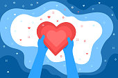 Concept of love. Two blue hands holding a big red heart on a blue background. Valentine day. Love and relationship. Flat design, vector illustration.