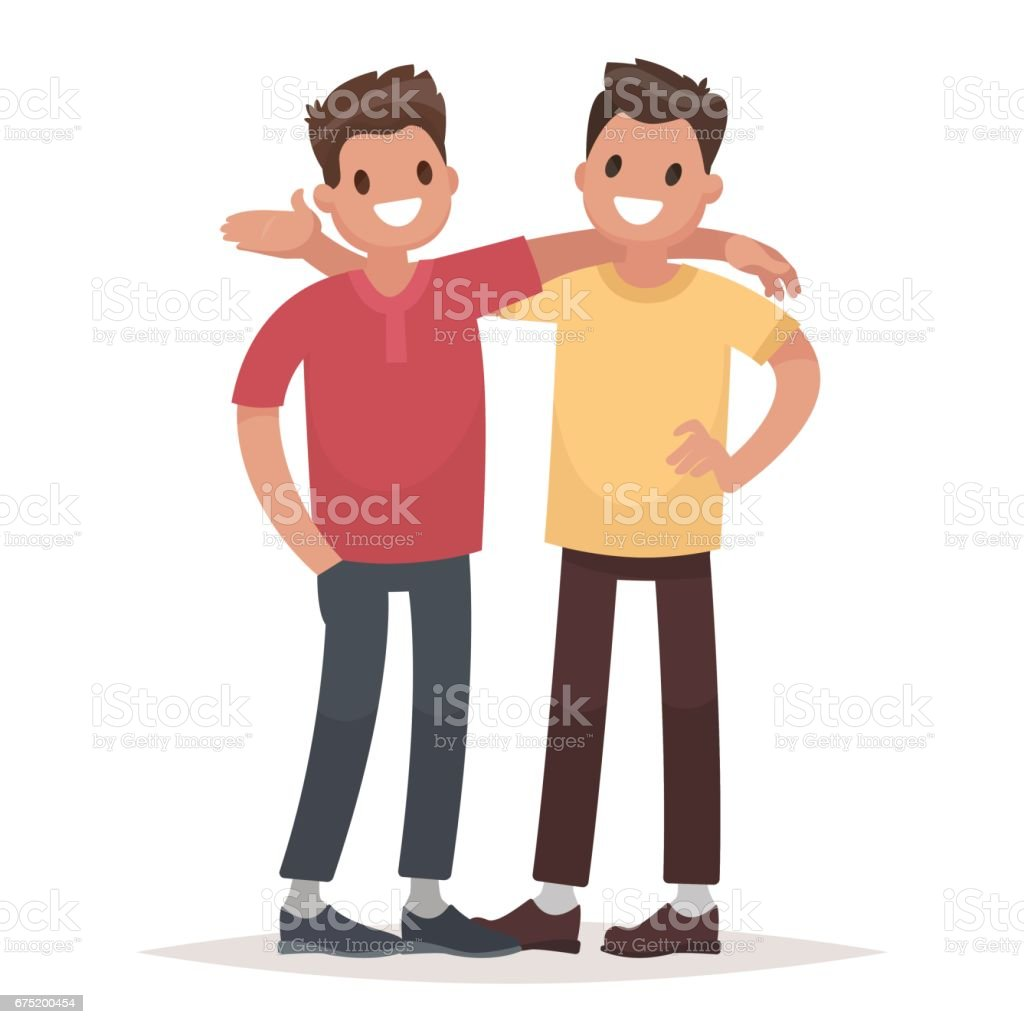 Concept of male friendship. Two guys hug. Vector illustration in a flat style - illustrazione arte vettoriale