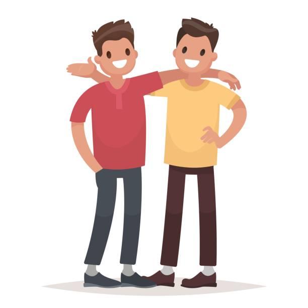 ilustraciones, imágenes clip art, dibujos animados e iconos de stock de concepto de la amistad masculina. dos chicos un abrazo. ilustración de vector de estilo plano - hermano