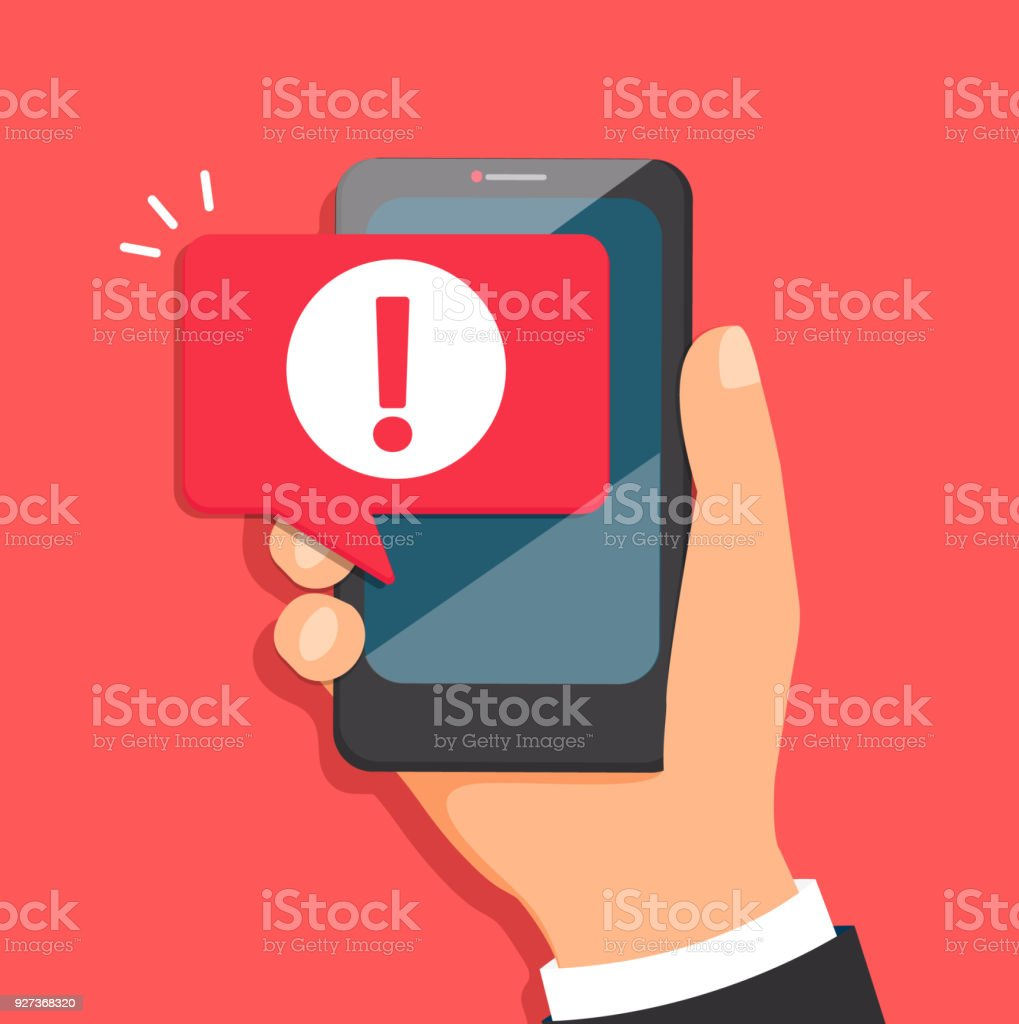 Concept of malware notification or error in mobile phone. Attention message bubble in smartphone. Red alert warning of spam data, insecure connection, scam, virus. Vector illustration. - Royalty-free Advice stock vector