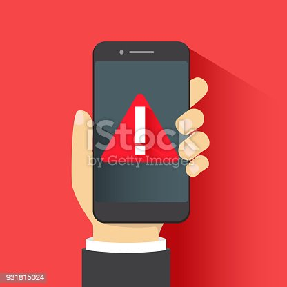 The concept of malware notification or error in mobile phone. Red alert warning of spam data, insecure connection, scam, virus. Flat illustration