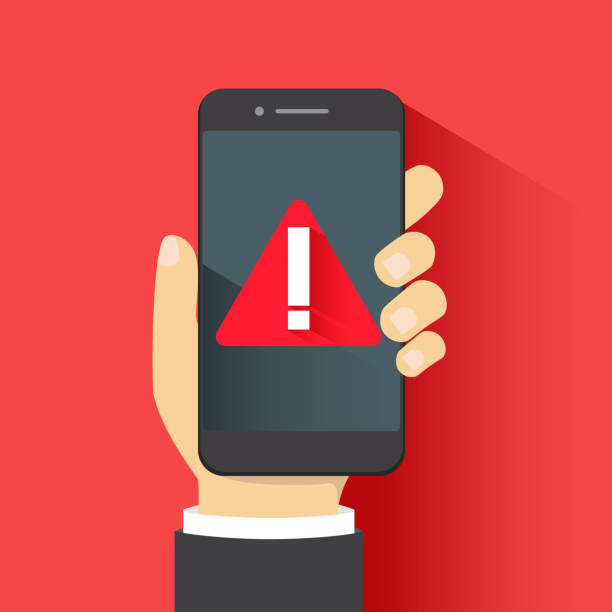 Concept of malware notification or error in mobile phone. Red alert warning of spam data, insecure connection, scam, virus. vector art illustration