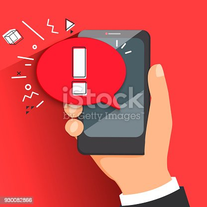 The concept of hazard or error notification in a mobile phone. Bubble with a message to be careful in the smartphone on a red background.Warning about spam, secure connection,fraud, a virus.Vector.