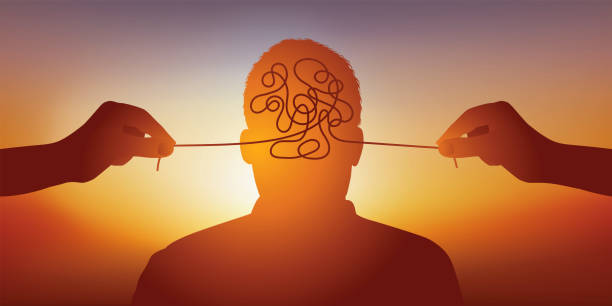 Concept of mental health with the symbol of a man cared for his tormented mind. vector art illustration